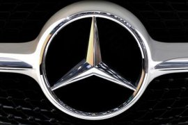Close-up of the Mercedes-Benz logo